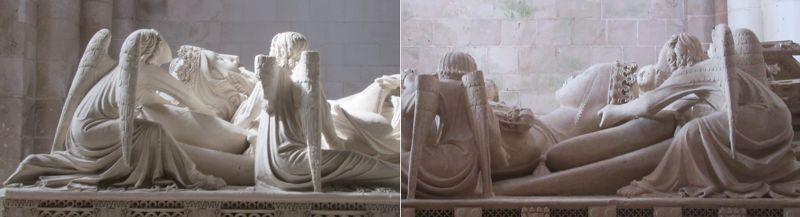 Túmulos de D. Pedro e D. Inês - anjos seguram a cabeça