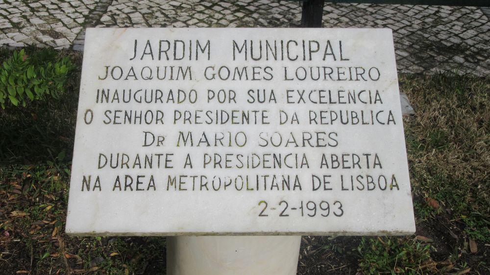 Jardim do coreto - placa de inauguração
