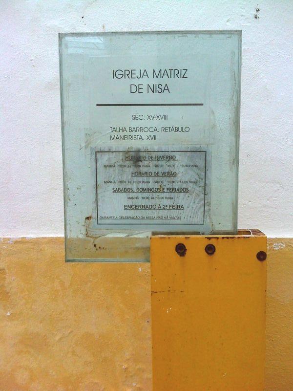 Igreja Matriz de Nisa - placa