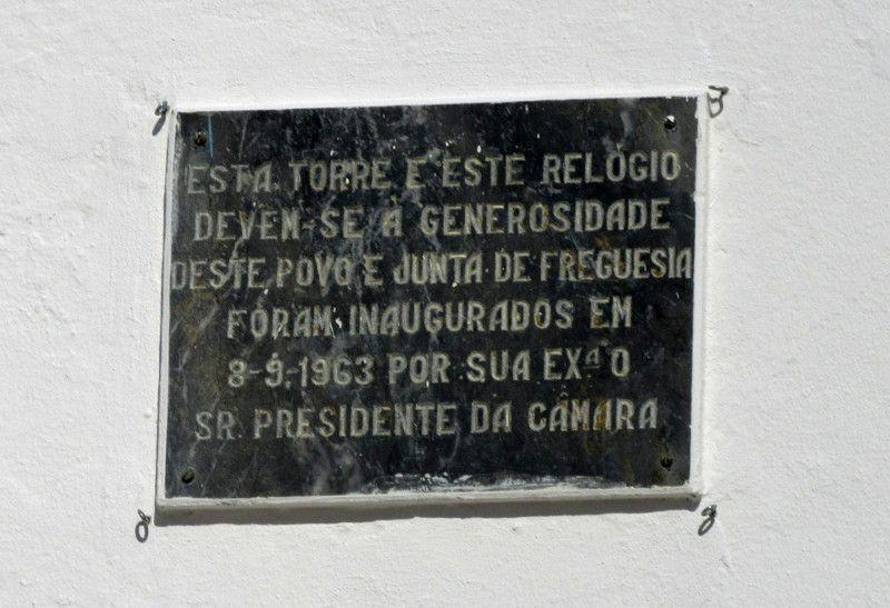 Placa da Torre Sineira